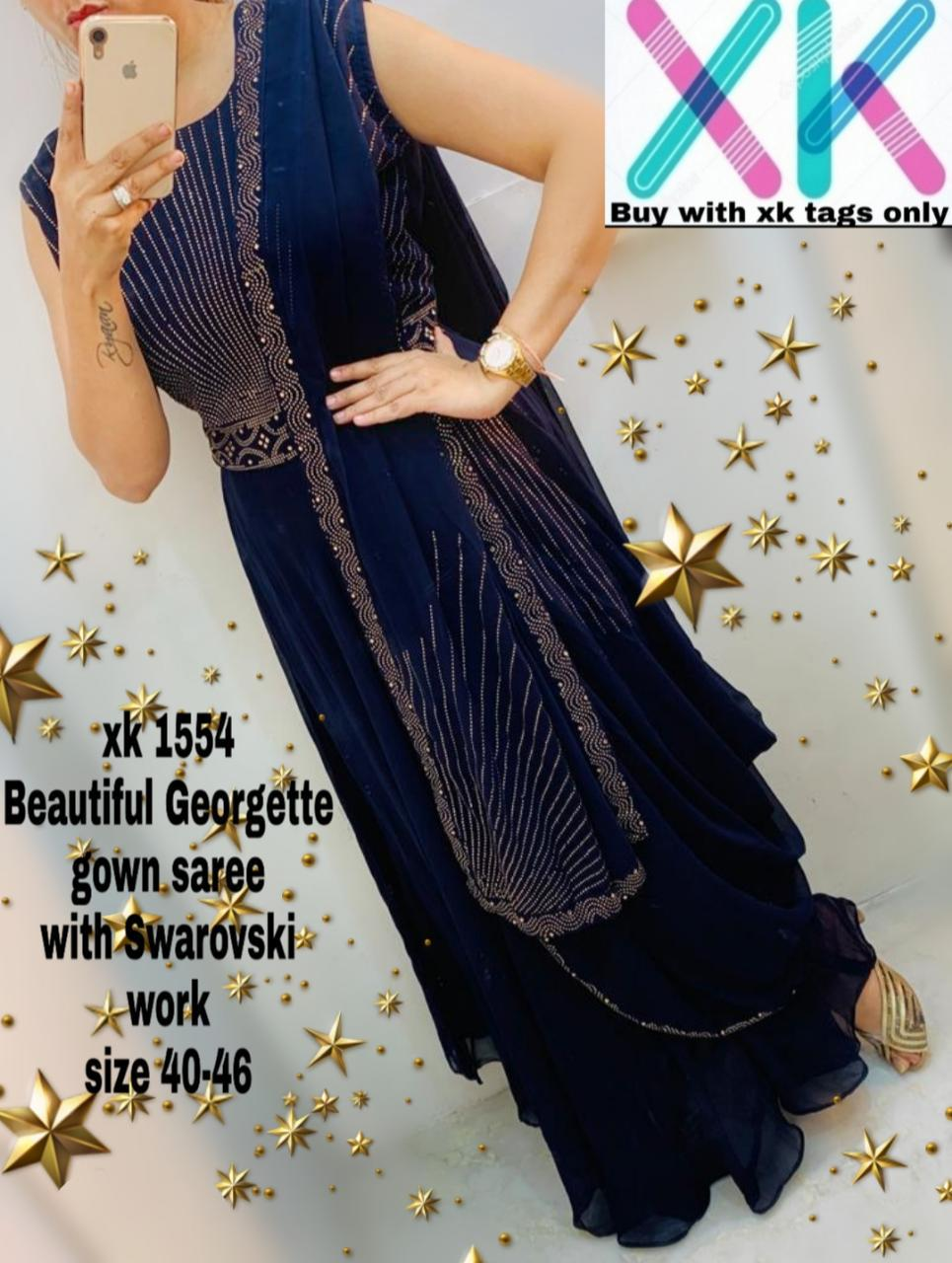 Dark Blue Georgette Ready To Wear Latest Saree Designs Online