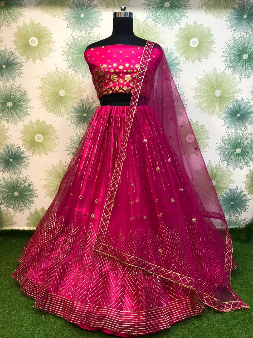 Raspberry Pink Net Embroidered Latest Lehenga Choli Online Shopping