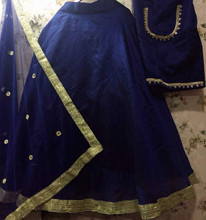 Navy Blue Raw Silk Designs For Bollywood Lehenga