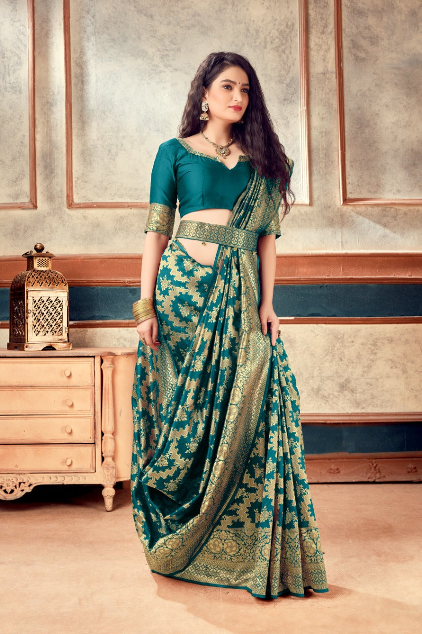 Teal Green Banarasi Silk Butti Weaves with Heavy Border Latest Saree Online