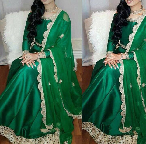 Green Raw Silk Lengha Choli Fashion Dress
