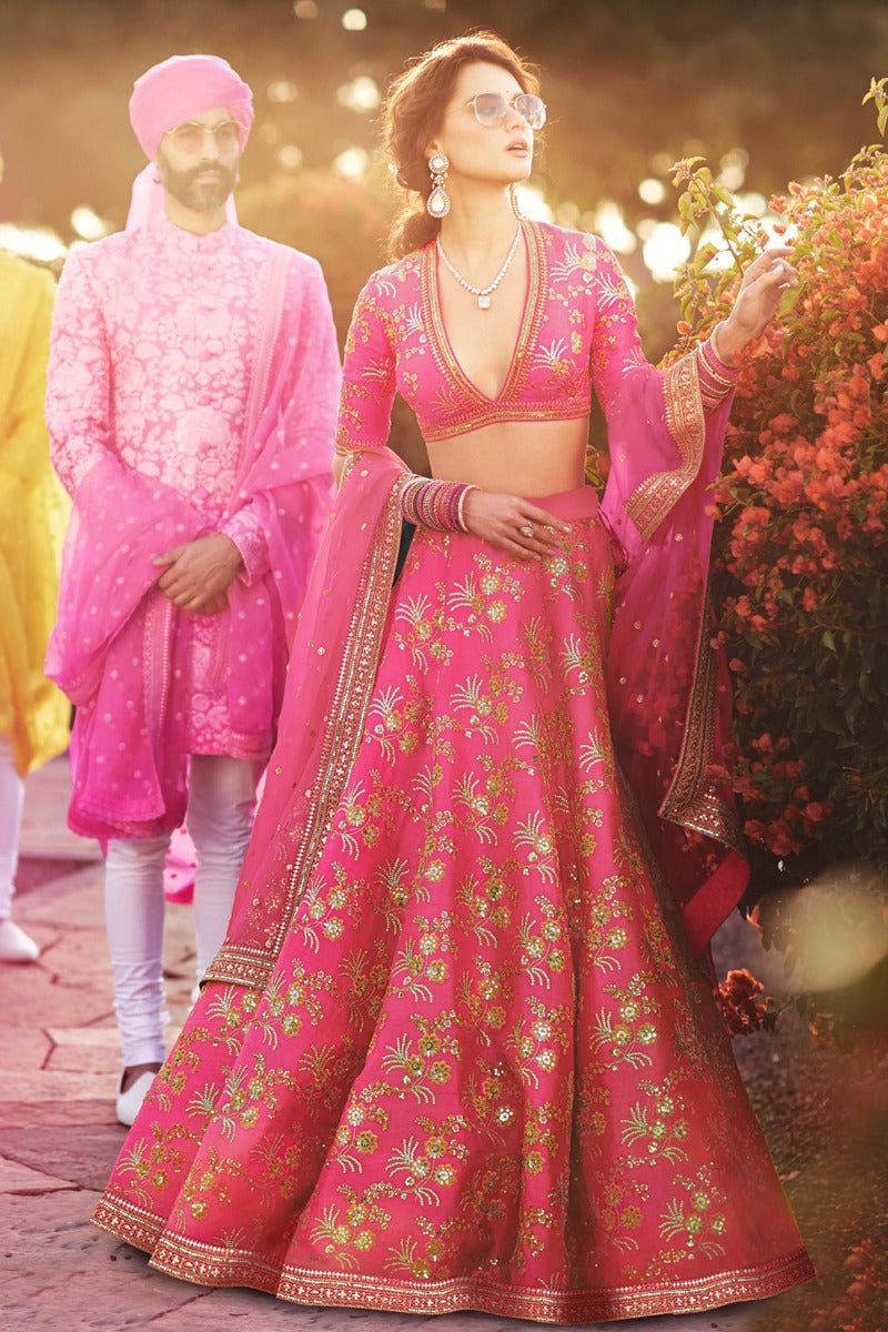 Lovely Pink Thai Silk Latest Lehenga Choli Designs For Wedding Online