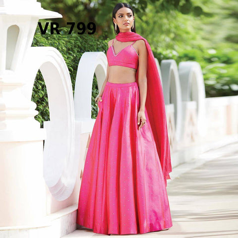 Pink Taffeta Silk Low Cost Lehenga Choli Online Shopping