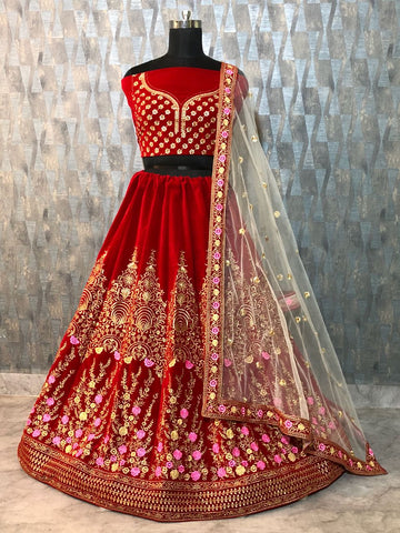 Red Taffeta Velvet Silk Party Wear Lehenga Online Shopping With Price