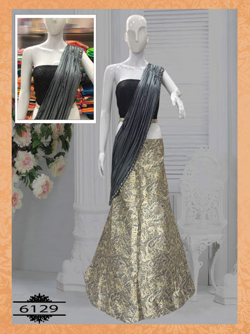 Gold And Gray Color Silk  Party Wear Lehenga Choli Designs