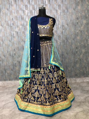 Navy Blue Taffeta Silk Latest Embroidered Bollywood Style Lehenga Choli