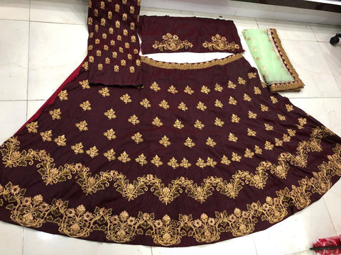 Maroon Art Silk Dori Embroidered Latest Lehenga Designs With Price