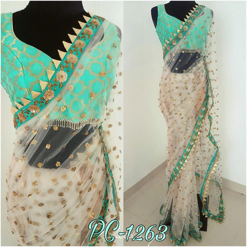 Lovely White Net Party Wear Sarees Online India Shopping