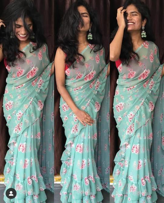 Turquoise Blue Georgette Floral Digital Print Ruffle Saree Design Online