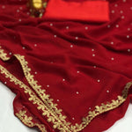 Red Georgette With Pearl Online Saree Shopping Sites
