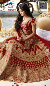Maroon Kerela Silk Embroidered Traditional Wedding Lehenga Choli