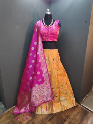 Yellow Banarasi Brocade Chaniya Choli Online Shopping India