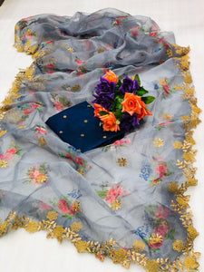 Grey Digital Floral Print Organza Saree Fashion Online Shopping