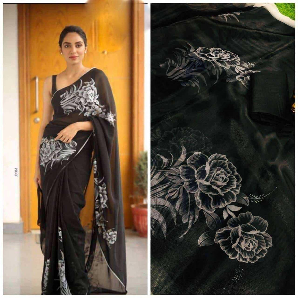 Black Rose Floral Digital Printed Latest Organza Saree and Blouse Set