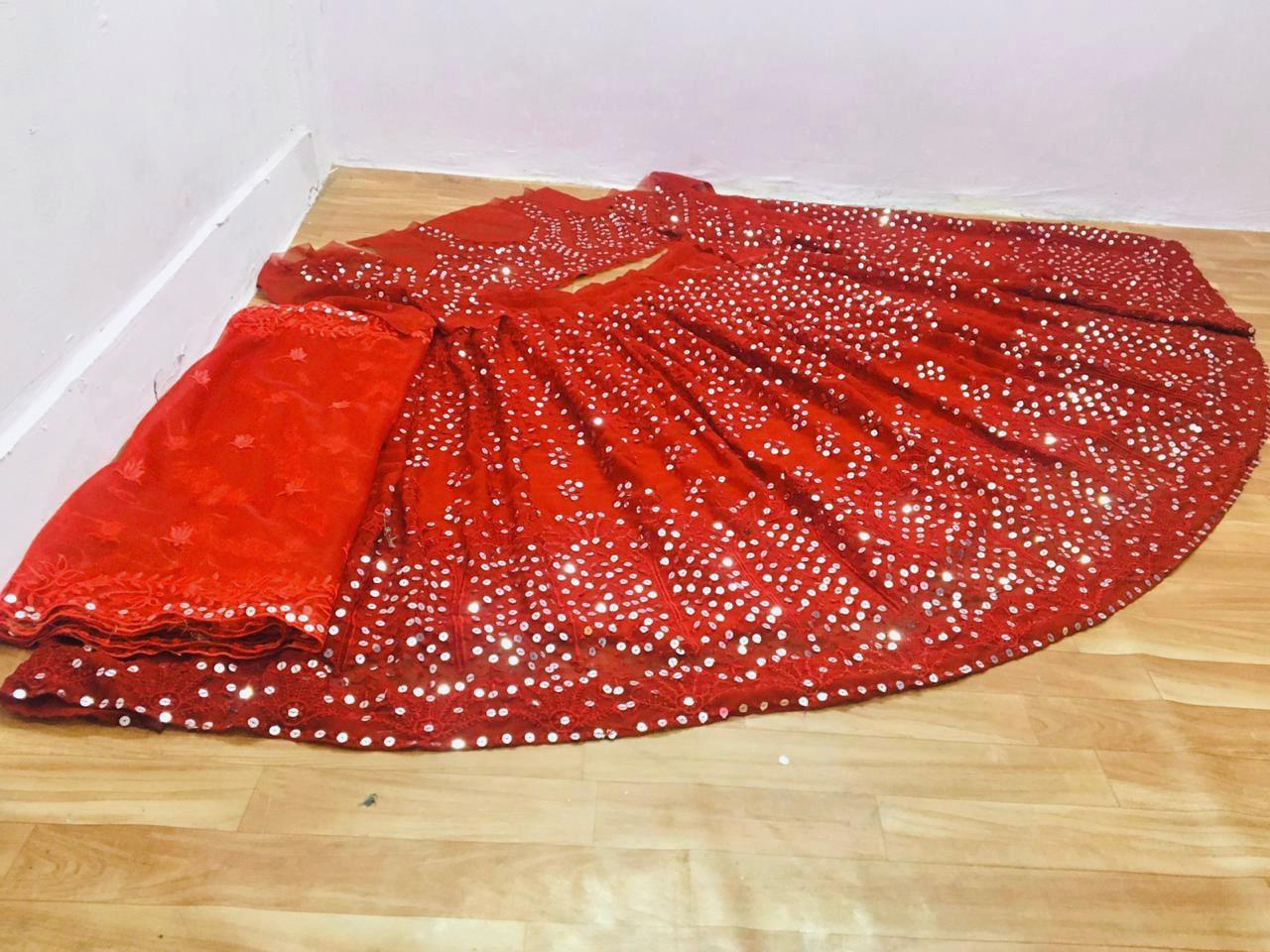 Red Georgette Sequins Work Online Shopping For Party Lehenga Cholis