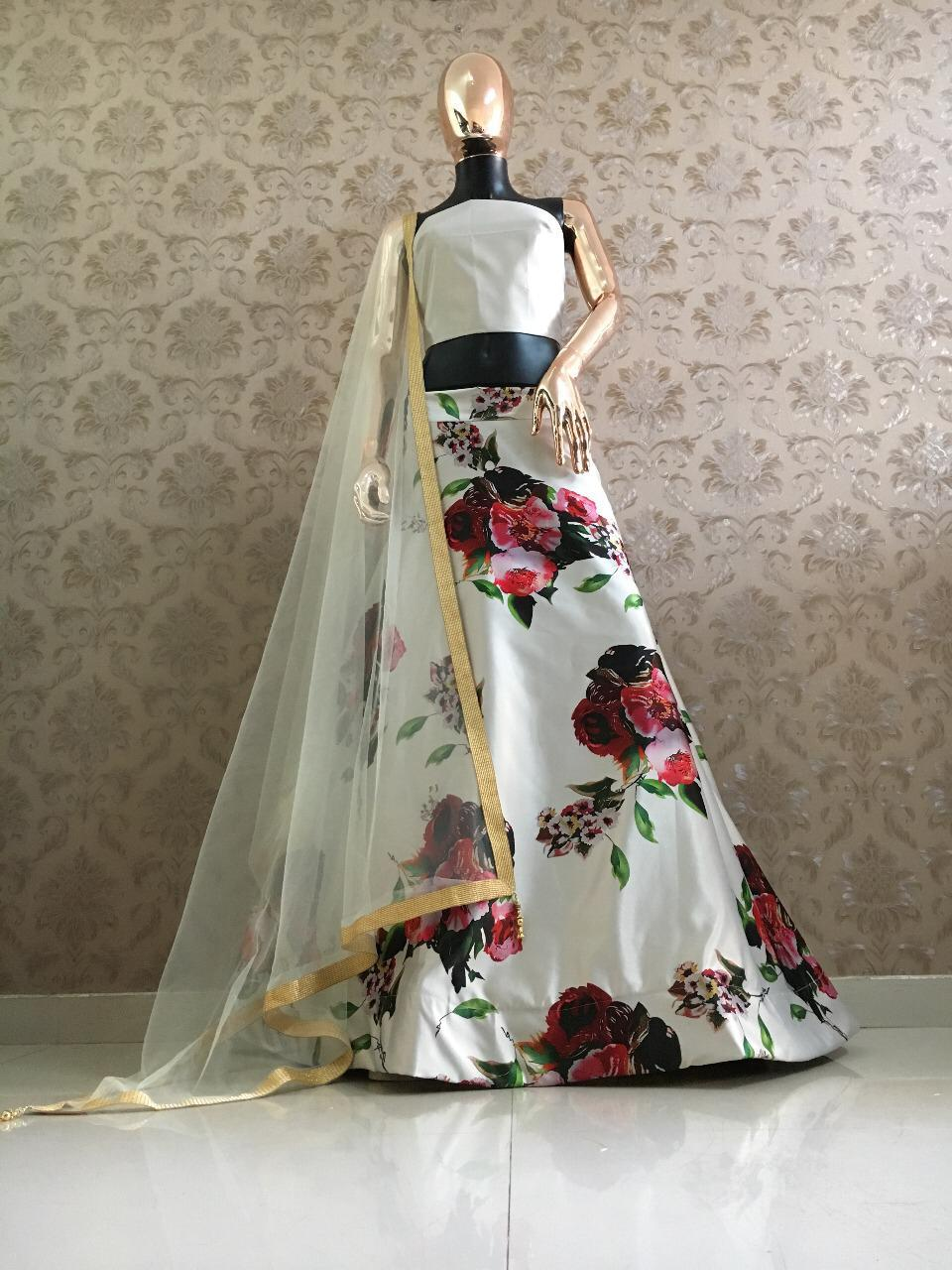 White Satin Digital Flower Printed Beautiful Lehenga Blouse With Price