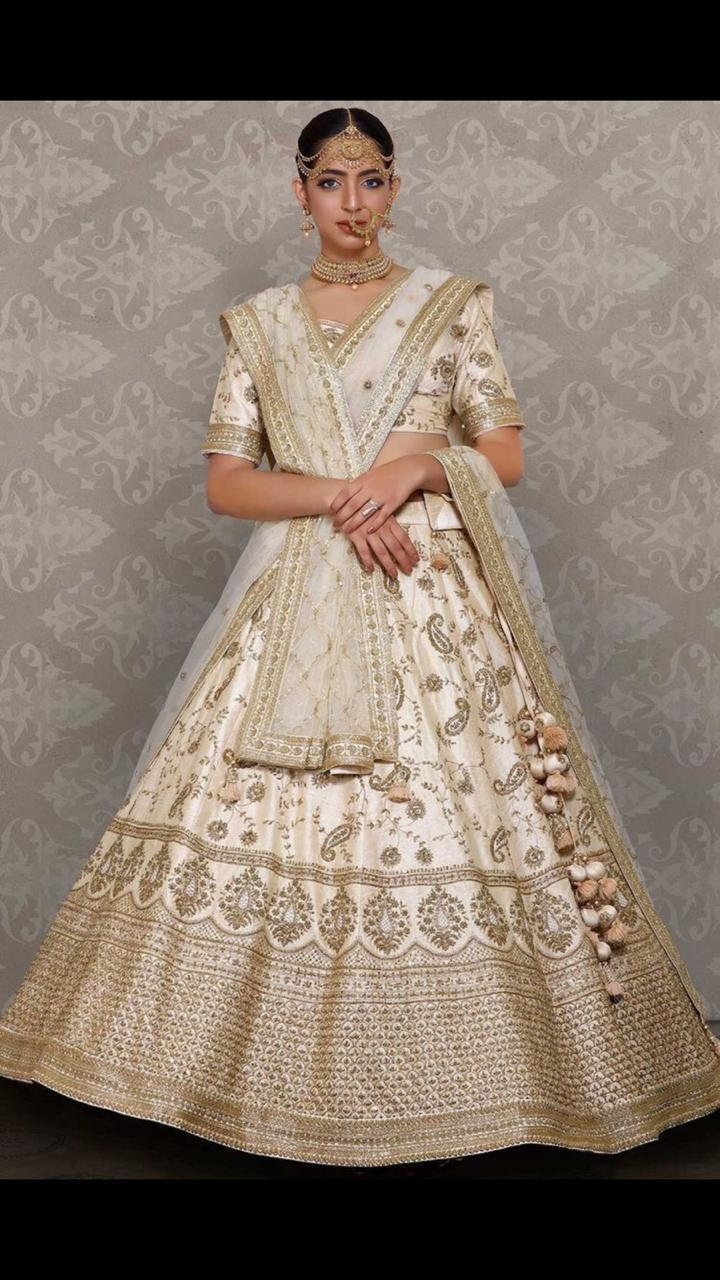 Light Beige Satin Banglori Silk Embroidered Lehenga Designs Online