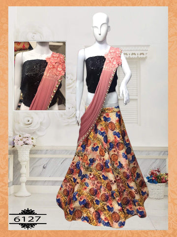 Multi Color Printed Silk Party Wear Lengha Choli Online Shopping