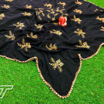 Elegant Black Georgette Embroidered Latest Party Saree Blouse