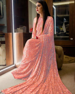 Peach Pink Sequins In Georgette Latest Sarees Online Shopping India