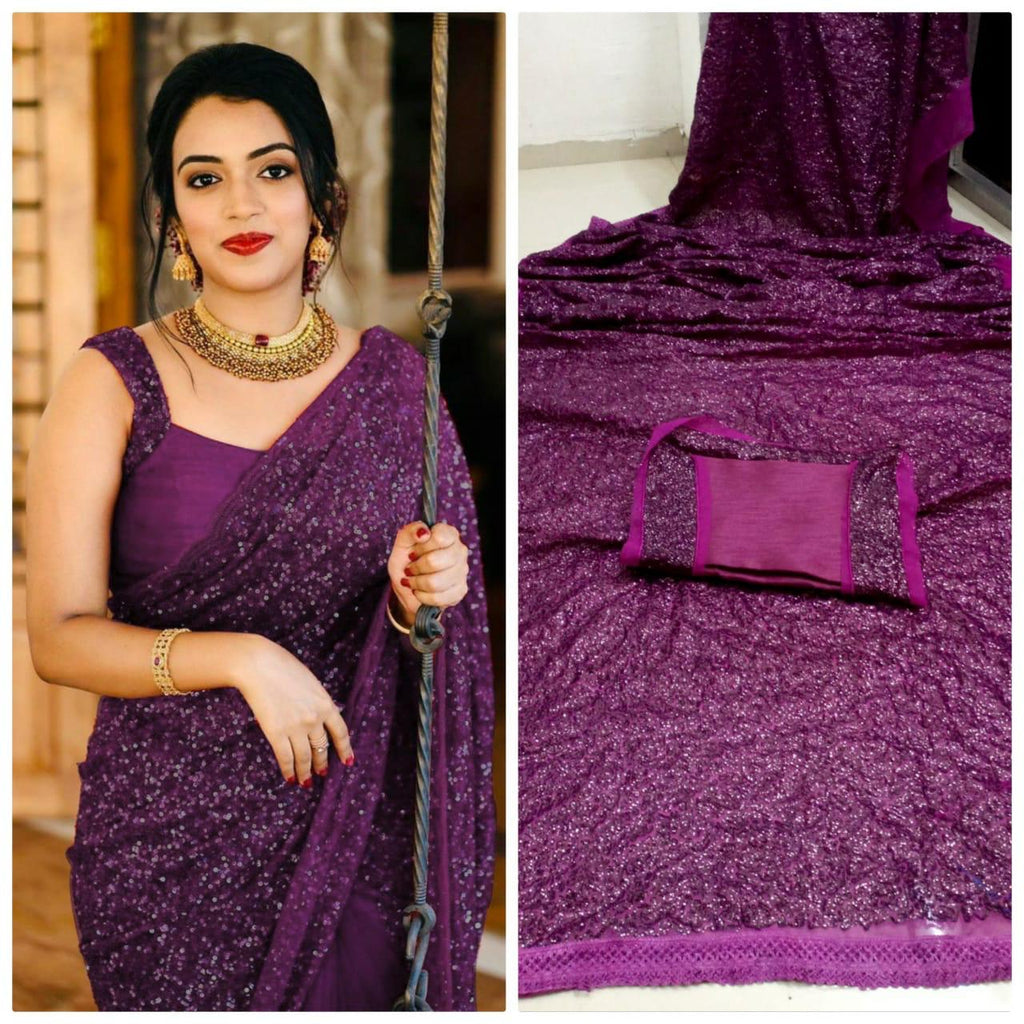 Purple Georgette Sequins New Party Saree Dresses Online