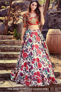 Multi Color Satin Digital Printed  Ghagra Dress With Price