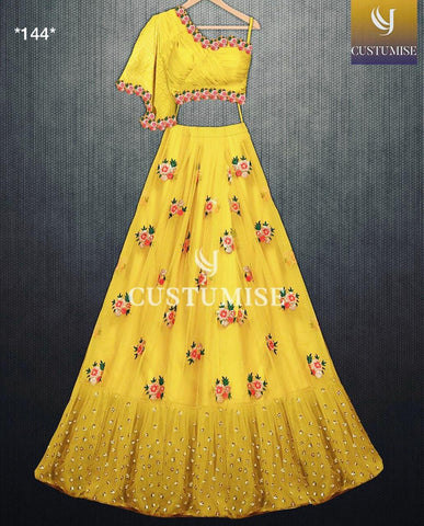 Yellow Net Latest Party Wear Lehenga Choli With Price