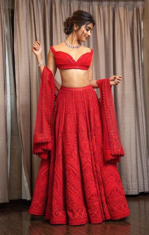 Pooja Hegde Red Georgette Embroidered Lehenga Replicas Online