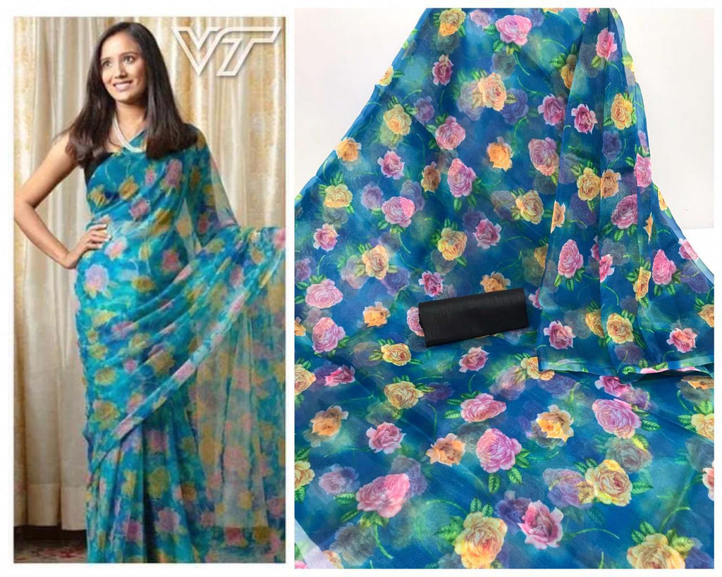 Blue Floral Digital Printed Latest Organza Saree and Blouse Set