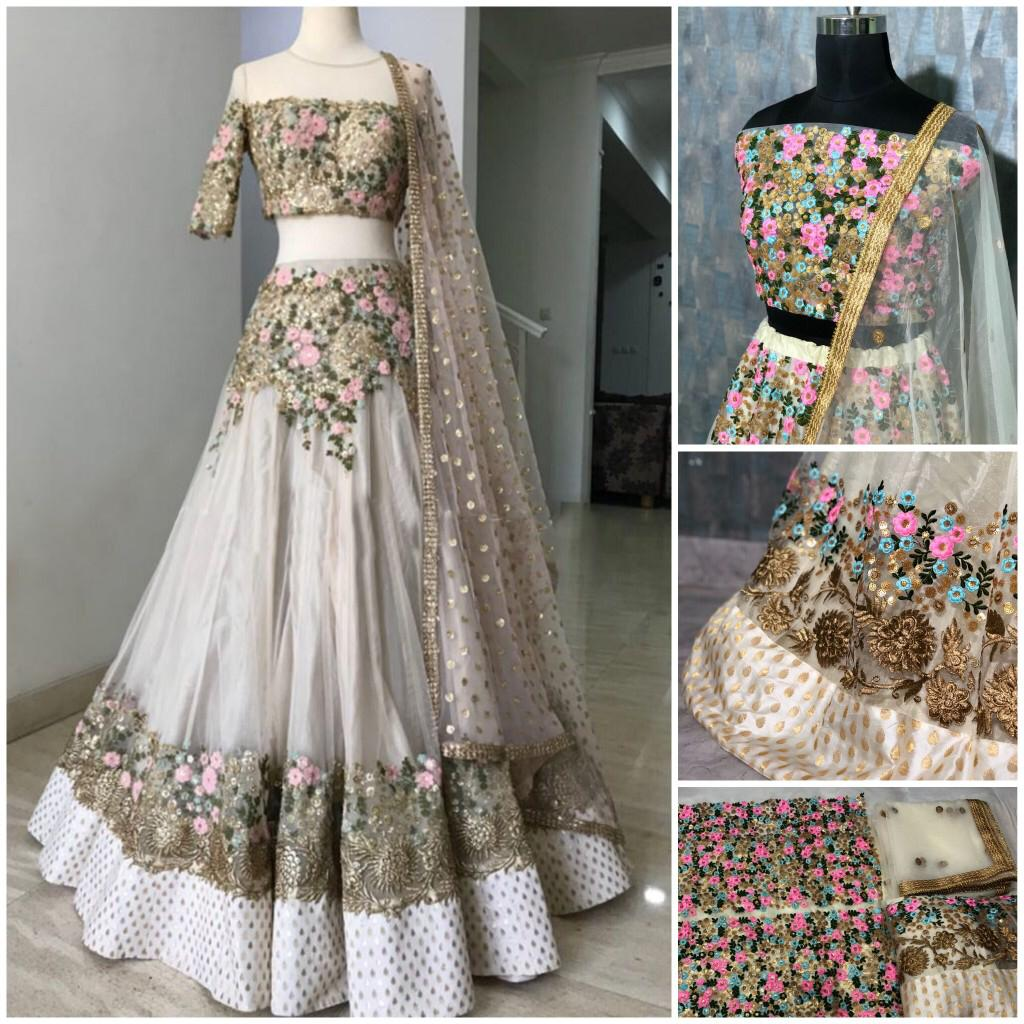 White Net Embroidered New Party Lehenga Choli Online Shopping