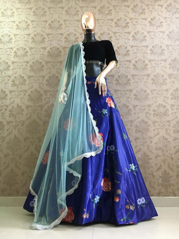 Blue Satin Digital Print Simple Lehenga Choli Designs With Price