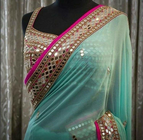 Pastel Blue Georgette Mirror Work Party Sarees Online