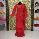 Raveena Tandon  Red Georgette Party Wear Ruffled Saree Blouse Online