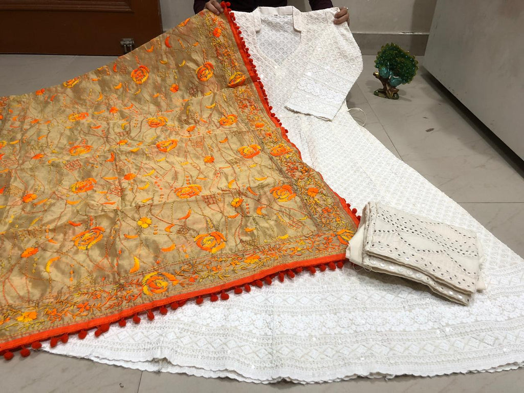 Off White Chickenkari  Anarkali Palazzo Suits With Dupatta