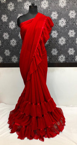 Lovely Red Georgette Ruffled Party Wear Fashion In Sarees