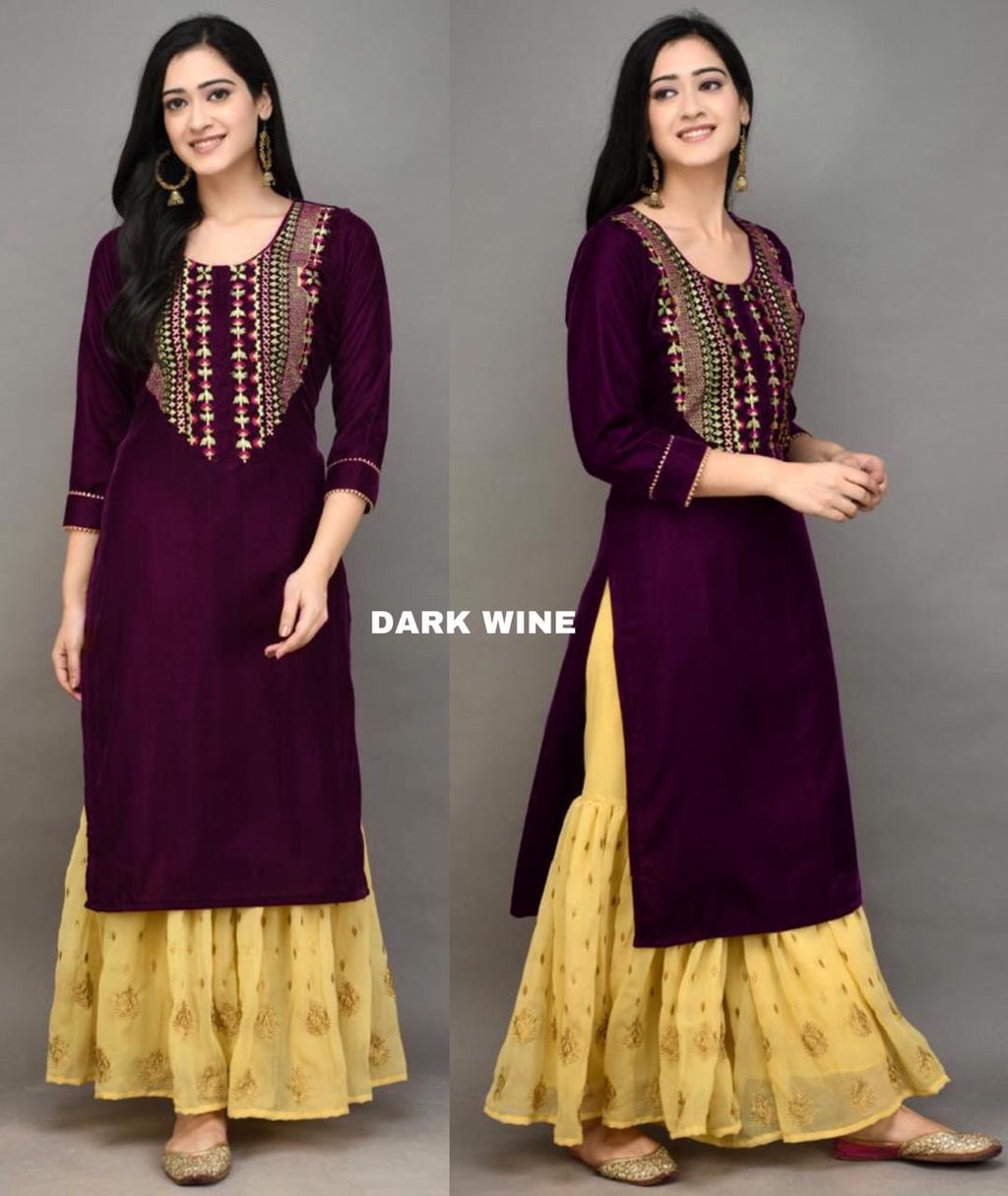 Wine Color Velvet Embroidered Kurti Sharara Suits Online