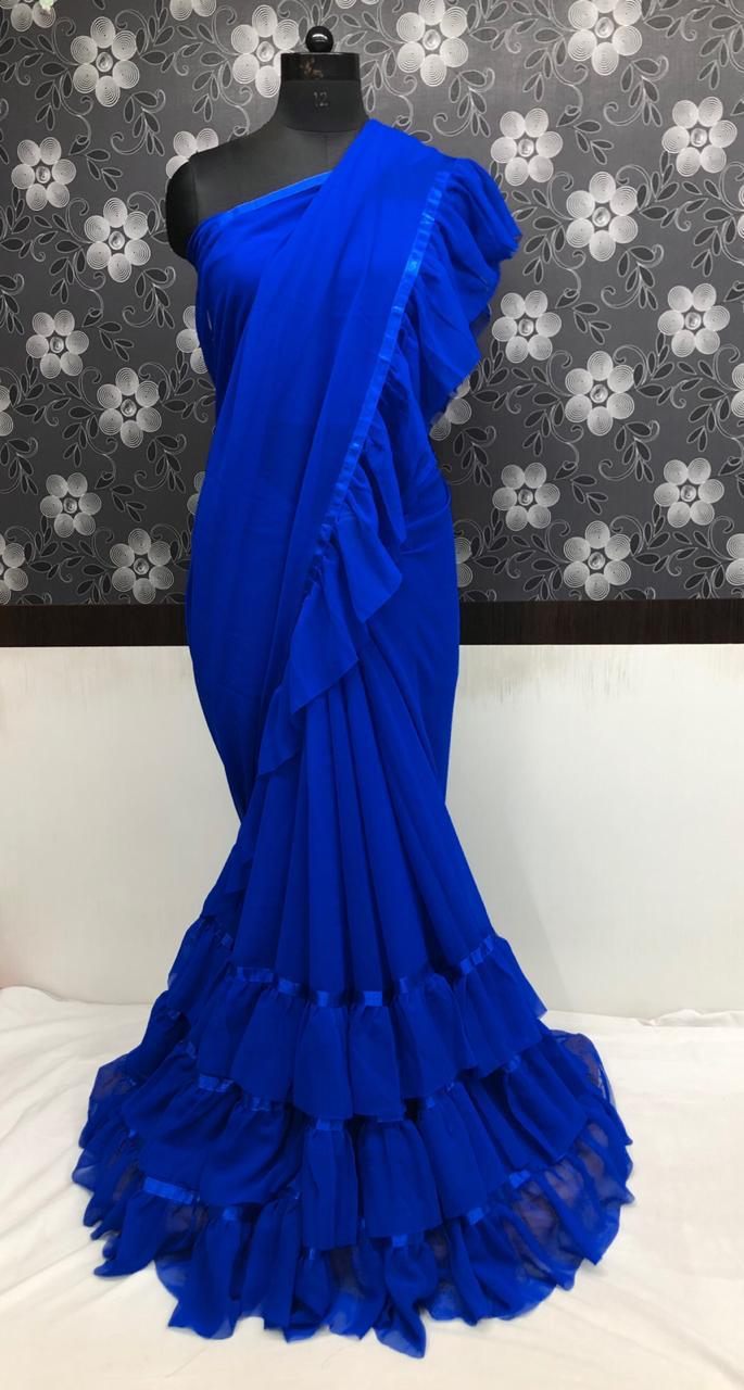 Blue Georgette Ruffle Indian Saree Collection With Price