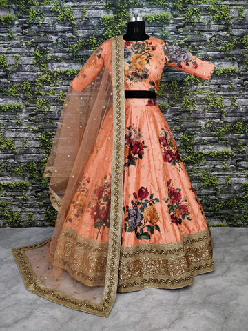 Peach Digital Print Latest Party Dresses Indian Lehenga Choli Online