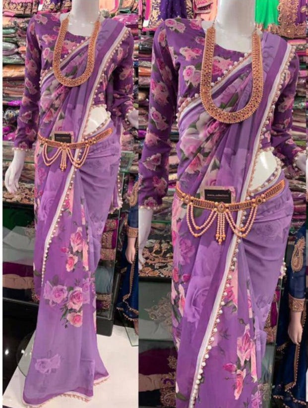 Light Purple Floral Printed Georgette New Indian Ladies Saree