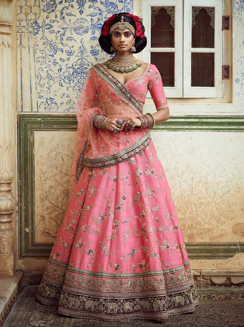 Pink Art Silk Heavy Embroidered Lehenga Choli Designs For Wedding