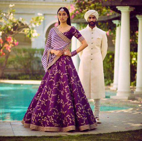 Purple Silk Embroidered Indian Dresses Party Lehenga Cholis Online