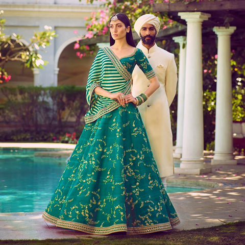 Green Silk Embroidered Latest Party Wear Lengha Blouse Online