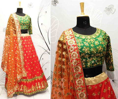 Cherry Red Silk New Style Indian Lehenga Choli Designs