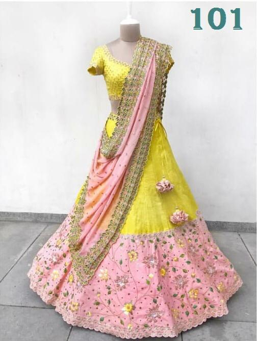 Yellow And Pink Banglori Satin Silk Latest Party Wear Chaniya Choli Styles