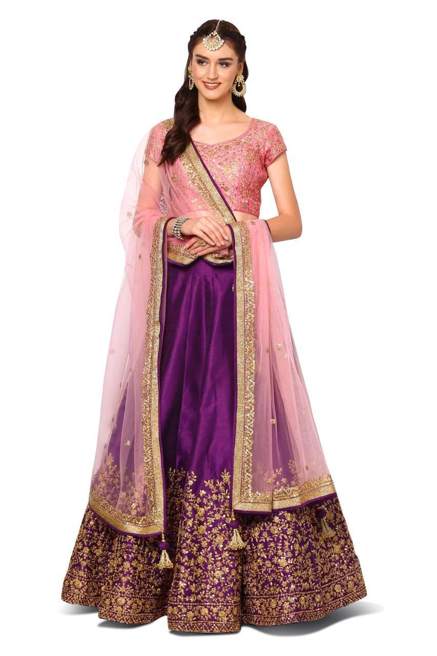 Purple Mulberry Silk Embroidered Lehenga Dress For Wedding