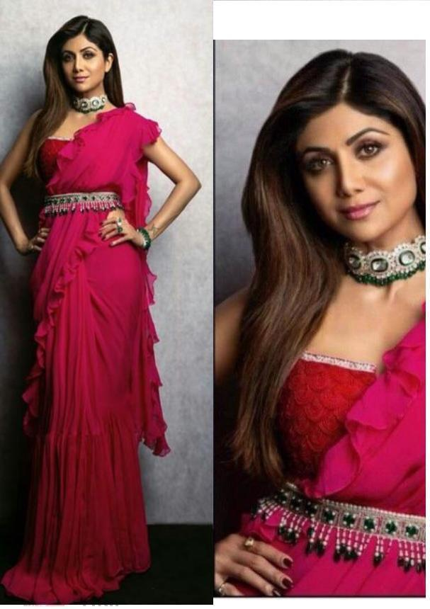 Shilpa Shetty Pink Georgette New Ruffle Saree Blouse Online Shop Indian Dresses See more ideas about shilpa shetty, fashion, shilpa shetty saree. shilpa shetty pink georgette new ruffle saree blouse online shop