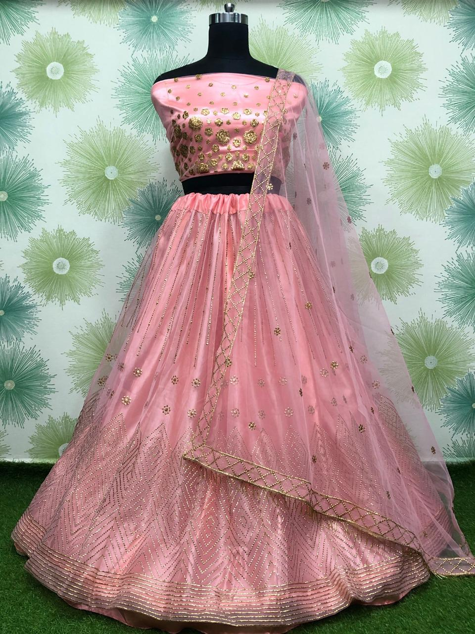 Peach Net Embroidered New Ghagra Choli Online Purchase