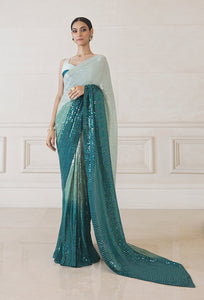 Teal Ombre Sequin Saree Party Wear Saree Online