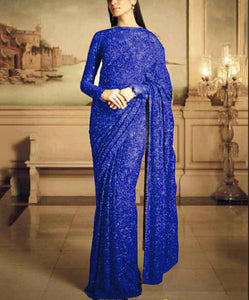 Blue Georgette Sequins Latest Sarees Online Shopping India
