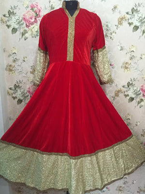 Hot Red Velvet Long Indian Bollywood Dresses ,Indian Dresses - 2
